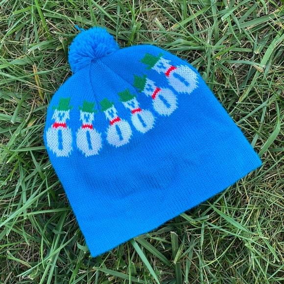 Vintage Accessories - Vtg snowman winter Pom Pom beanie toque hat